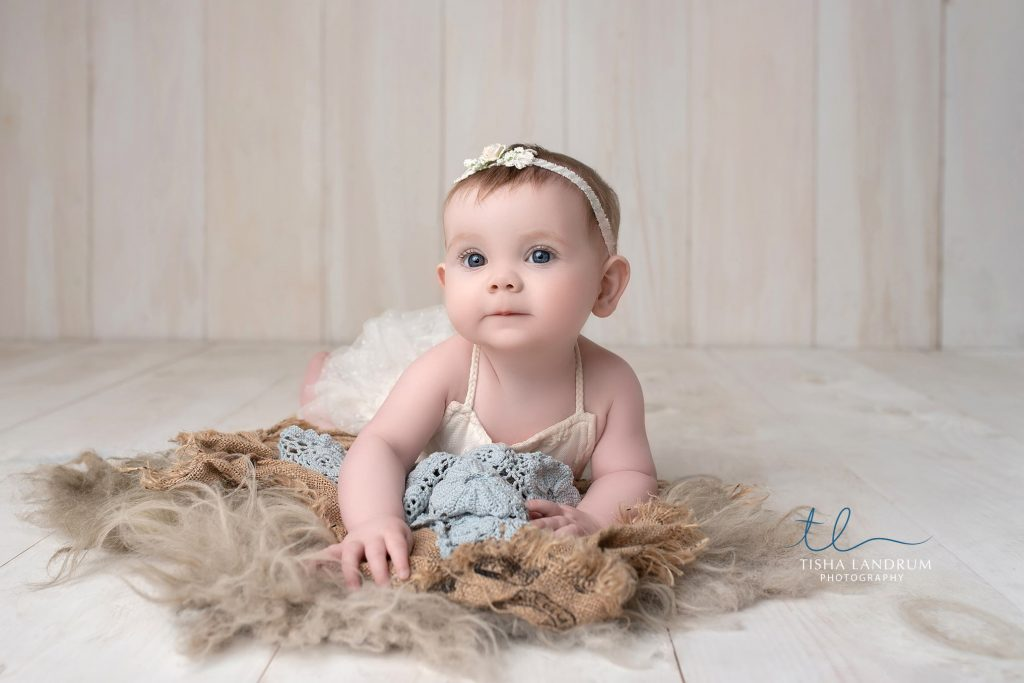 Baby Photographer In Harrisburg, 6 Month Baby Girl In Studio With Custom Outfits & Props