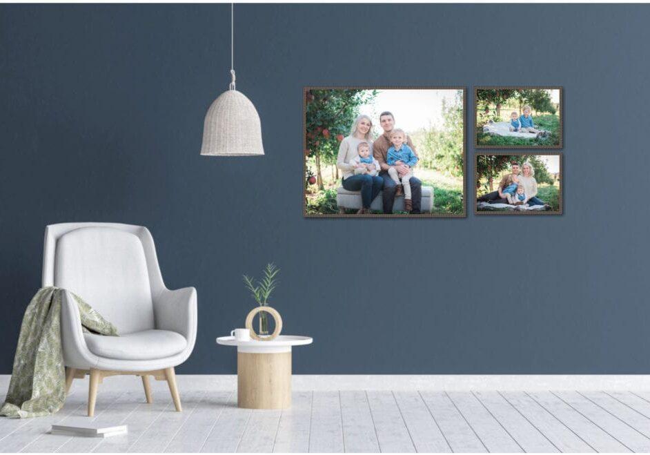 Sample family wall with custom framing by Tisha Landrum